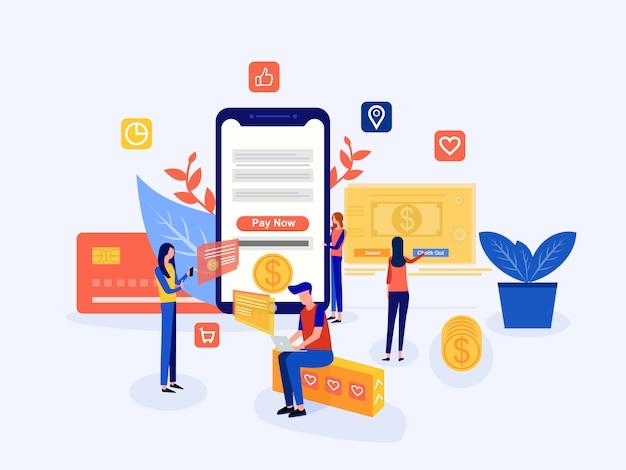 Concept de paiement mobile ou de transfert d'argent