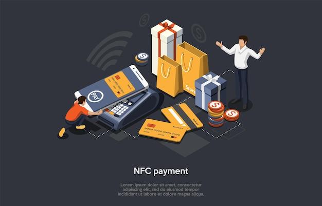 Concept de paiement nfc isométrique. concept en ligne, mobile et sans numéraire. le client paie les marchandises par smartphone, technologie nfc, cartes de crédit bancaires et achats