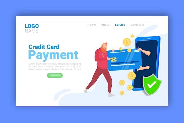 Concept de paiement par carte de crédit pour la page de destination