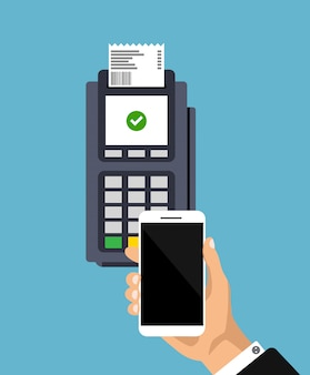 Concept de paiement sans contact. design plat du terminal de point de vente avec reçu