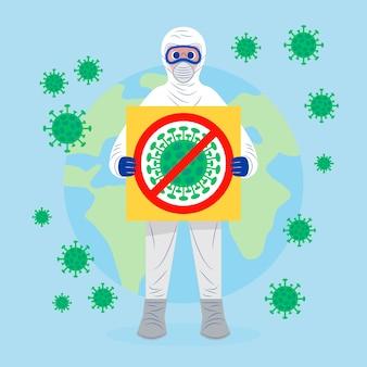 Concept pandémique homme en costume de matières dangereuses