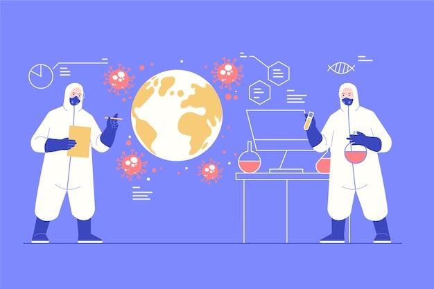 Concept pandémique personnes en costume de matières dangereuses