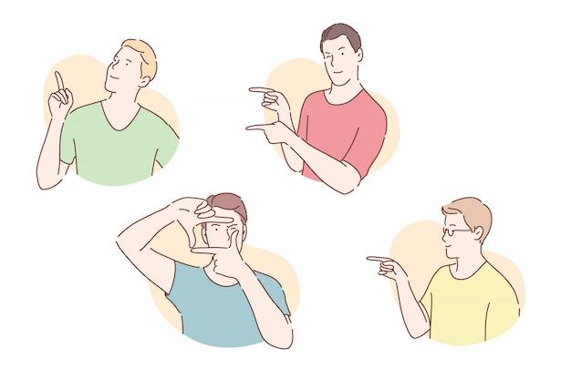 Concept de pantomime de démonstration de pose de gesticulation