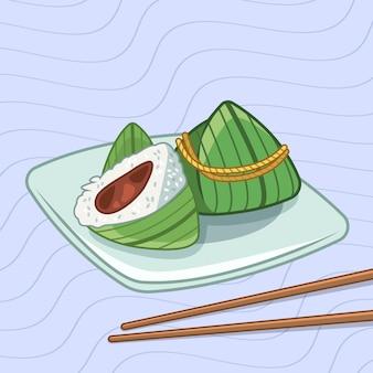 Concept de papier peint bateaux dragon zongzi