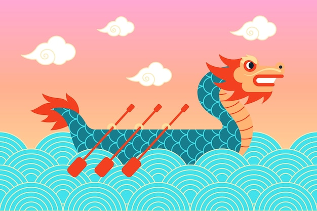 Concept de papier peint coloré de bateau dragon