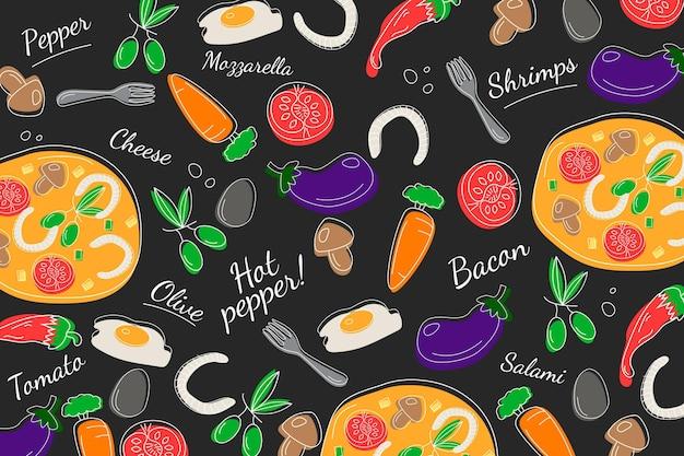 Concept De Papier Peint Mural De Restaurant Vecteur gratuit