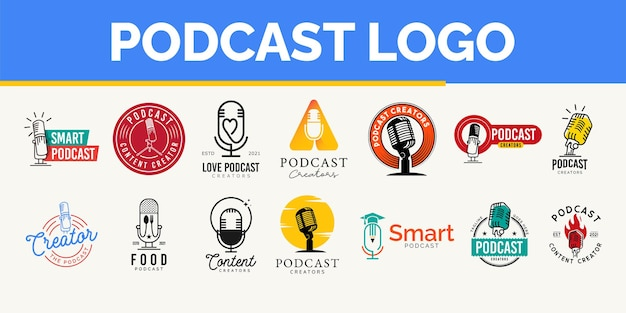 Concept de paquet de conception de logo de podcast