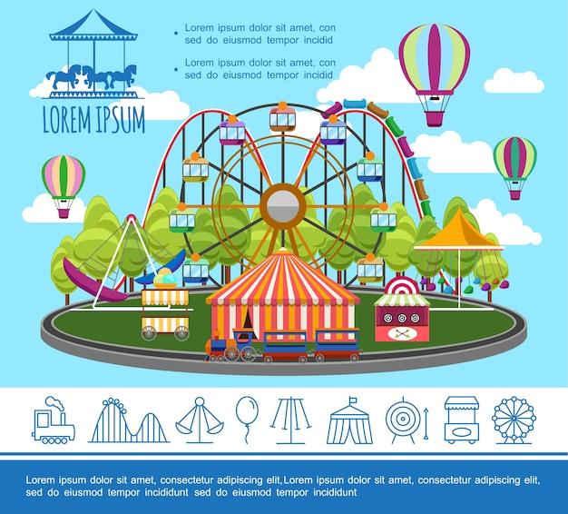 Concept de parc d'attractions plat