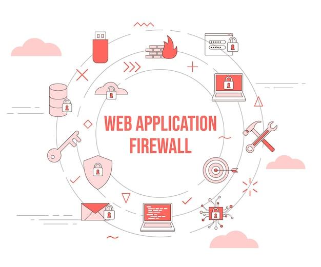 Concept de pare-feu d'application web waf avec bannière de modèle de jeu d'icônes et vecteur de forme ronde de cercle