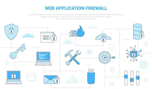 Concept de pare-feu d'application web waf avec bannière de modèle de jeu d'icônes avec vecteur de style de couleur bleu moderne