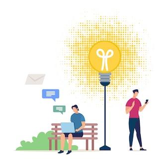 Concept de partage d'idées d'affaires