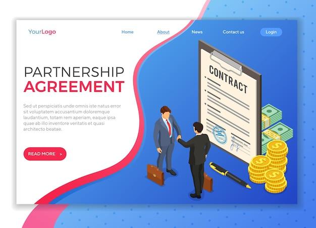 Concept de partenariat avec des hommes d'affaires de poignée de main après un accord réussi