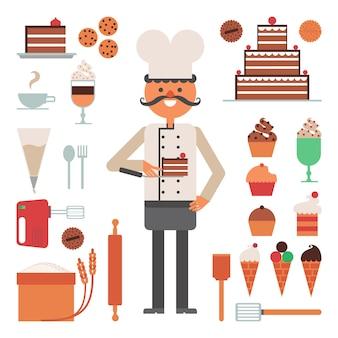 Concept pâtés et outils homme confiseur