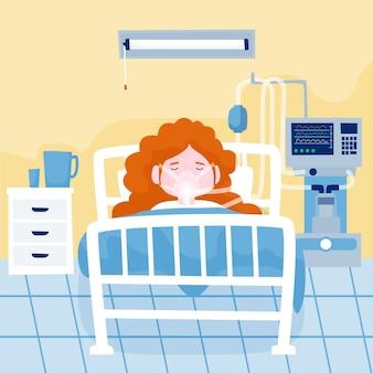 Concept De Patient Critique Pour Le Coronavirus Vecteur gratuit