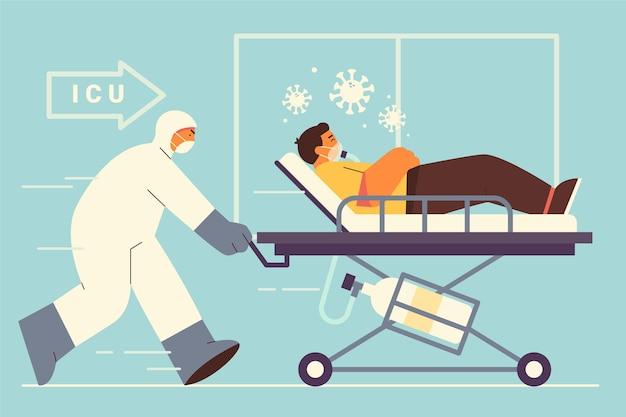 Concept de patient critique pour le coronavirus