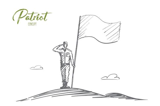 Concept de patriot dessiné à la main