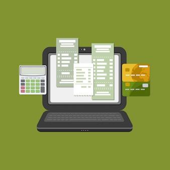 Concept de payer le compte de taxes en ligne par ordinateur ou ordinateur portable. paiement en ligne. ordinateur portable avec facture de chèque à l'écran. transfert par carte bancaire. cartes bancaires de crédit avec calculatrice. vecteur