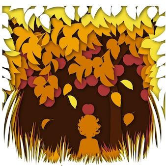 Concept de paysage d'automne avec pommier