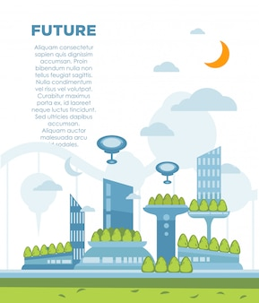 Concept de paysage de la future ville. illustration de fond vectorielle paysage urbain moderne