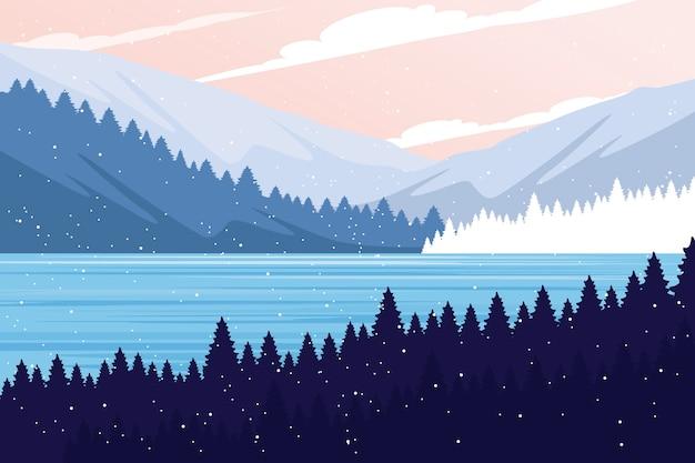 Concept de paysage d'hiver au design plat