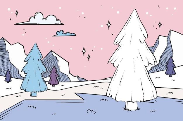 Concept de paysage d'hiver dessiné à la main