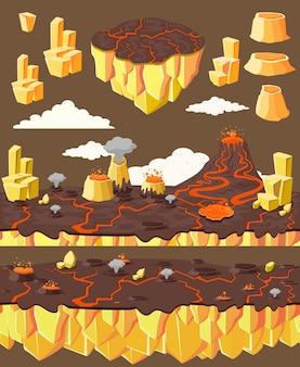 Concept de paysage de jeu de niveau isométrique