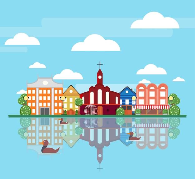Concept de paysage de ville de printemps plat