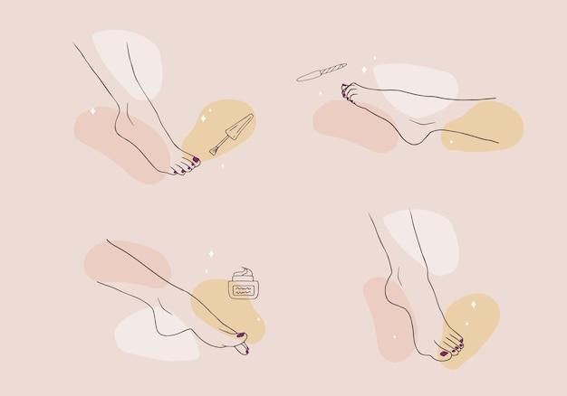 Concept de pédicure. jambes de femme élégante.