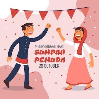 Concept de pemuda sumpah dessiné à la main