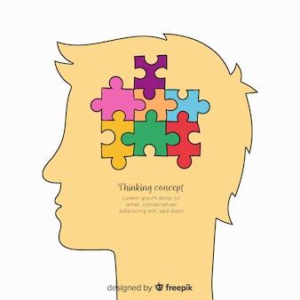 Concept de pensée dessiné à la main