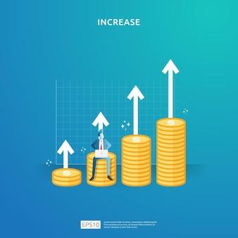 Concept de performance financière. augmentation des bénéfices de l'entreprise avec la flèche vers le haut et le caractère des personnes. le taux de salaire de revenu augmente les revenus de marge avec le symbole du dollar. illustration de retour sur investissement roi