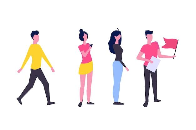 Concept de personnage de chef d'équipe ou d'influenceur. direction d'entreprise. illustration vectorielle dans un style plat