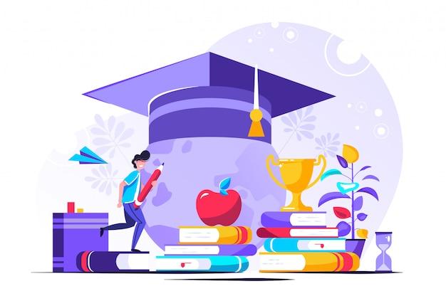 Concept De Personne D'apprentissage Des Connaissances. Vecteur Premium