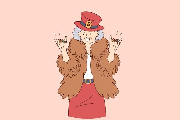 Concept de personnes âgées drôle élégant