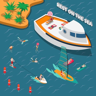 Concept de personnes isométrique de sports nautiques