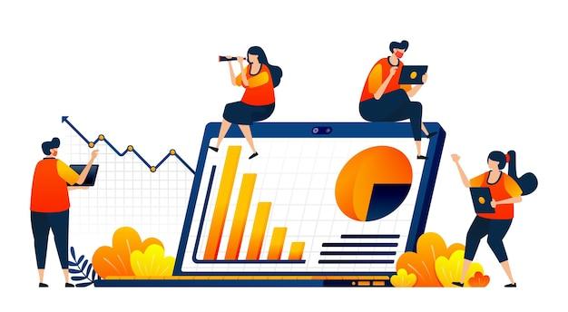 Concept de personnes rencontrant les performances de l'entreprise avec des tableaux financiers et des rapports graphiques