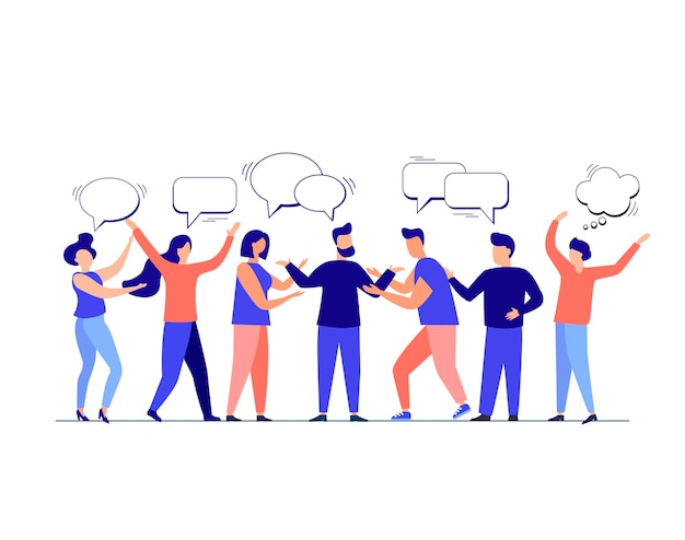 Concept de personnes de style plat de dialogues discutant de sujets sociaux d'actualité fond isolé de vecteur