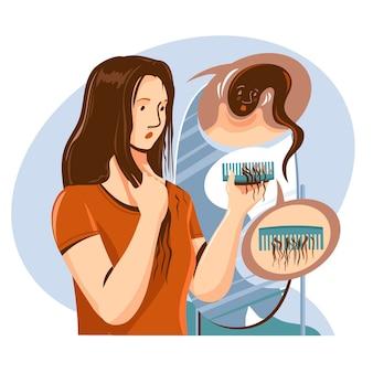 Concept de perte de cheveux dessiné à la main
