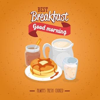Concept de petit déjeuner avec de la nourriture et des boissons