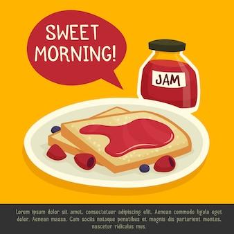 Concept de petit-déjeuner avec sweet morning remark