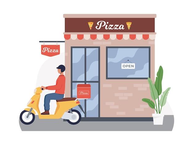 Concept de petite entreprise de commande et de livraison de pizza