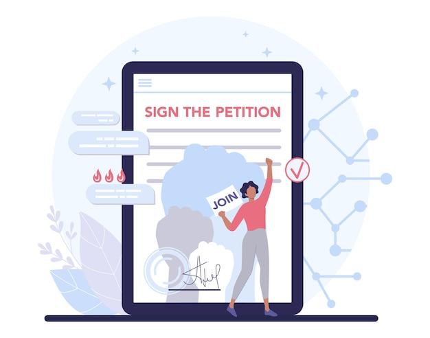 Concept de pétition en ligne