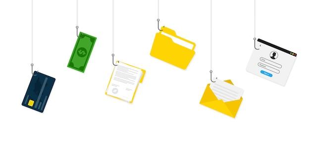 Concept de piratage. informations personnelles et détails de la carte de crédit.