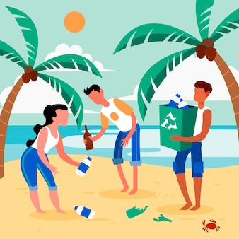 Concept de plage nettoyage personnes