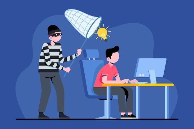 Concept de plagiat illustré avec une personne qui travaille et un voleur