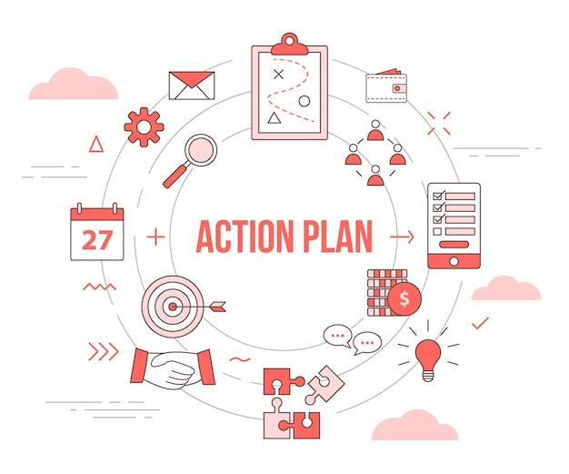 Concept de plan d'action commercial avec bannière de modèle de jeu d'icônes