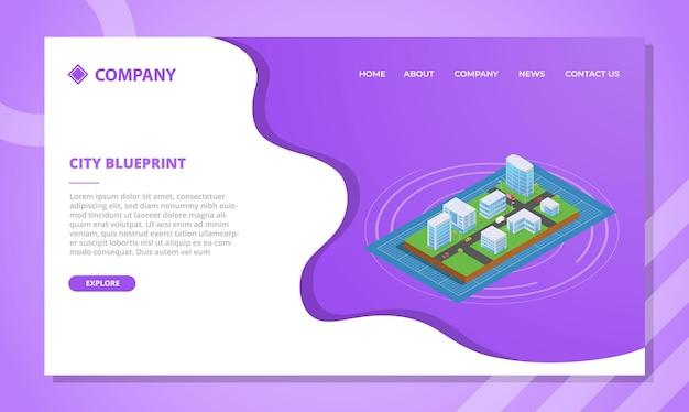 Concept de plan de ville pour le modèle de site web ou la page d'accueil de destination avec illustration vectorielle de style isométrique