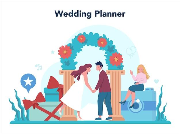 Concept de planificateur de mariage. organisateur professionnel organisant un événement de mariage. organisation de restauration et d'animation. planificateur de mariage mariée et fiancé.