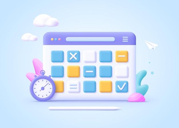 Concept de planification du travail, routine quotidienne. tableau blanc avec des plans d'horaire. illustration vectorielle de dessin animé 3d.