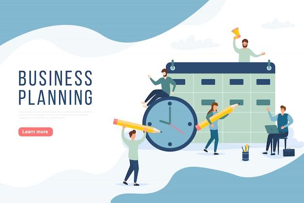 Concept de planification des personnes. un groupe de personnages élabore un plan. stratégie de gestion de projet et de reporting financier. peut utiliser pour la bannière web, les infographies, les images de héros. illustration.